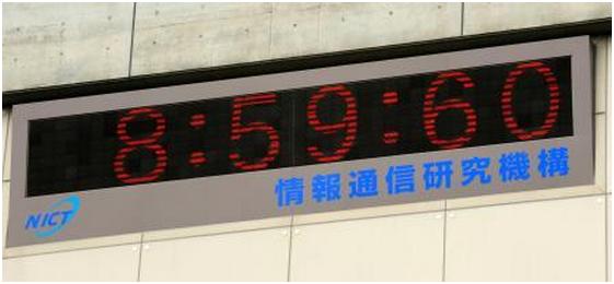 神戸新聞NEXT 「うるう秒」が挿入され、午前8時59分60秒を表示する時計=2012年7月1日、東京都小金井市の情報通信研究機構